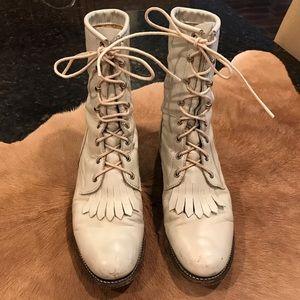 Vintage Justin Cream Western Boots  Size 7.5B